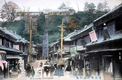 前方是浅间坂,右侧可见出租自行车店及钟表店的招牌